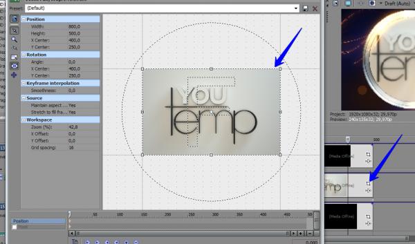 Подогнать размер фото или видео в шаблоне